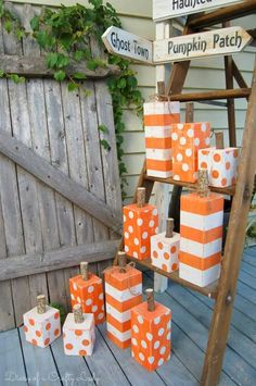 18 Super Awesome DIY Fall Decorations Kids Can Make At Home 4x4 Crafts, Fall Wood Crafts, Pumpkin Crafts, Thanksgiving Crafts, Holiday Crafts, Wooden Halloween Crafts, Kids Crafts, Adornos Halloween, Fall Projects
