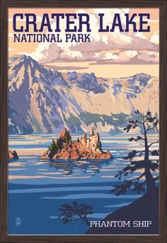 Crater Lake National Park, Oregon - Shoreline & Sunset - Lantern Press Artwork (Art Print Available) Retro Poster, Vintage Travel Posters, Crater Lake Oregon, Voyage Usa, Crater Lake National Park, Photo Vintage, Vintage Ski, Vintage Signs, Kunst Poster