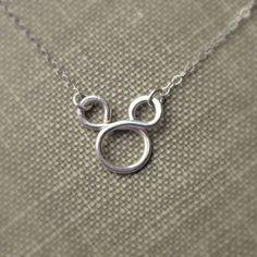 Mickey Mouse Necklace Sterling Silver Disney Fan Flower girl gift Disney Weddings