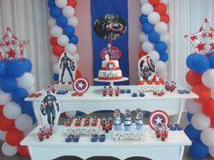 Decoração de festa infantil Captain America Party, Captain America Birthday, Sons Birthday, Boy Birthday Parties, Cumple Super Heroes, Hedgehog Birthday, Captain American, Superhero Party, Childrens Party
