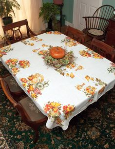 Vintage Fall Fruit Tablecloth Flowers By LovelyLinensandMore