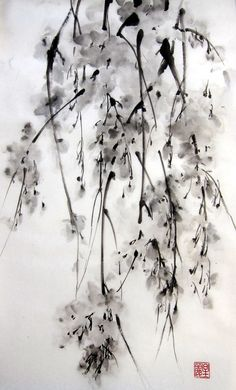 "Japanese Ink Painting on Rice Paper, 13x20 inch,Suibokuga,Sumi-e Black and White  - ""Sakura#5"""