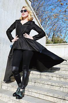 Black Cotton Flared Coat Convertible Cotton Jacket 2 Jackets