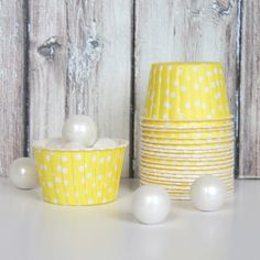 Candy Cups - Yellow Polka Dot