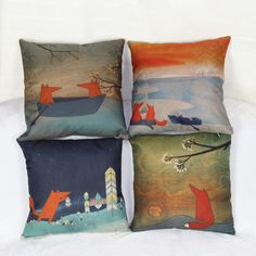 Fox Family Pillow Covers