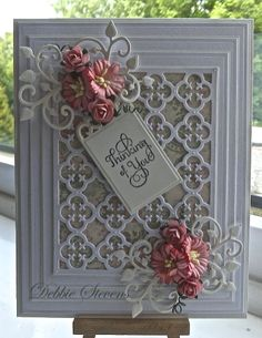 Hi everyone,Another card for you, Ive used Spellbinders Grand rectangles,Spellbinders gift ensemble, Spellbinders our daily bread quatrefoil, Spellbinders antique frame and accents, the sentiment i...