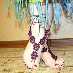 Decorating for the feet Barefoot sandals Crochet by yolkaigolka, $15.00