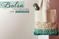 Tunear bolsa de algodon con punto abanico de crochet - Tutorial ༺✿ƬⱤღ  http://www.pinterest.com/teretegui/✿༻