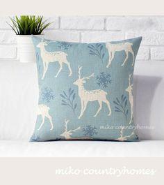 $15 | Winter Doe Snowflake | Throw Pillow Cover #throwpillows #pillowcover #winter #doe #deer #snowflake #christmasdecor