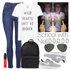 """School with Niall."" by welove1 ❤ liked on Polyvore featuring Topshop, Zoe Karssen, Givenchy, NIKE, Ray-Ban, MAC Cosmetics, Forever 21, women's clothing, women's fashion and women"