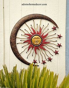 Moon wall art is not only trendy, cute and modern but it is the symbol of eternity, femininity and timelessness. You can use moon wall art in all rooms of your home and it makes a fantastic gift for anyone who loves astrology, nature, and astronomy  Large Metal Celestial Moon Sun Decor Garden Art Indoor Outdoor Patio Wall Decor