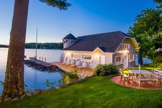 Settled along the lake in New Hampshire, this waterfront home is the perfect place to call your own. Dream Shower, Waterfront Homes, Perfect Place, Outdoor Spaces, Home Remodeling, Luxury Homes, Beautiful Homes, Beach House, Home And Family