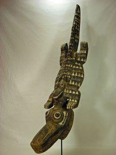 Fine Old African Tribal Mask Nuna-Bobo Crocodile Mask Burkina Faso 3 1/2 feet