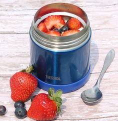 put frozen organic fruit in kid's thermos- it's still cold but not mushy by lunch. More affordable option for organic fruit year round