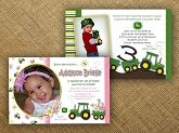 Custom John Deere Tractor Birthday Invitation Printable - Freckled Expressions