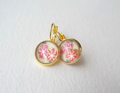 Pink Japanese Blossom Earrings - Yellow Gold Plated leverback earrings - Japanese Blossom - pink, coral, lemon and gold by NoDittoDesign, $19.50 USD