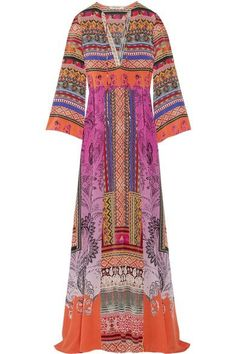 Etro - Printed Silk-crepe Maxi Dress - Pink - IT44