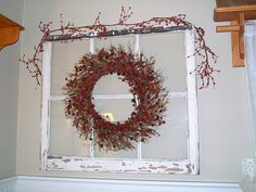 Simple decoration for Christmas Like the rustic window but would want a different wreath
