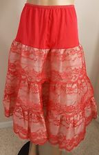 50S-60S vint Red Layered Lace Crinoline Petticoat slip square dance boho punk-m-