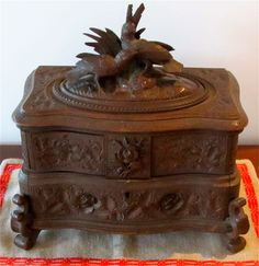 antique wood carved box from Brienz