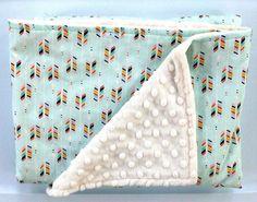 Tribal Arrow Baby Girl Minky Blanket-Teal Mint-Designer Fabric-Baby Shower Gift-Bedding-Modern Aztec Southwest Nursery