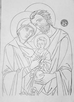 Sagrada familia Religious Pictures, Religious Icons, Religious Art, Byzantine Icons, Byzantine Art, Sketch Icon, Sketches, Jesus Drawings, Christian Images