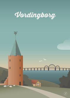 Vordingborg - str. A3 og A5 og A4 og 50x70 plakat fra Jeanet kristensen Copenhagen Design, Copenhagen Denmark, Vejle, Vintage Travel Posters, Illustrations, Minimalist Design, Life Hacks, Architecture, Bright