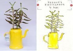 *Recicpiente vintage* Regalos reciclados en ilustraciòn en acuarela by Milèn Corrèn