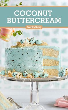 Easter Speckled Malted Coconut Cake - Be. - Easter Speckled Malted Coconut Cake – Beautiful Easter Cake Recipe recipes This Is the Mos - Coconut Buttercream, Buttercream Frosting, Coconut Cakes, Lemon Cakes, Malted Milk, Easter Brunch, Easter Party, Easter Treats, Easter Food