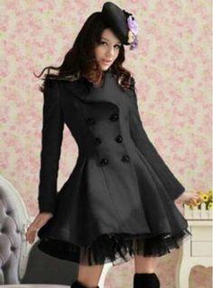 Elegant O Neck Long Sleeves Zipper Design Black Wool Dress