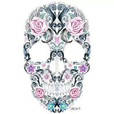 Rosy Calavera Omg! I freakin want this tattooed! But with my fave flowers of course