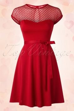 Rock Steady Clothing ~ 50s Madeline Hearts Only Swing Dress in Red