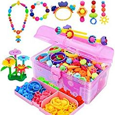 VERTOY Girls Toys pop Beads Jewelry Making kit for Toddlers - Arts and Crafts kit for Girls Age 3 4 5 6 7 8 Year Old, Necklace Bracelet and Ring Creativity Snap Set, Best Children Birthday Gift Toddler Arts And Crafts, Arts And Crafts Kits, Craft Kits For Kids, Crafts For Girls, Toys For Girls, Educational Toys For Toddlers, Kids Toys, Yule Crafts, Pop Beads