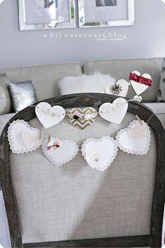 White valentine garland