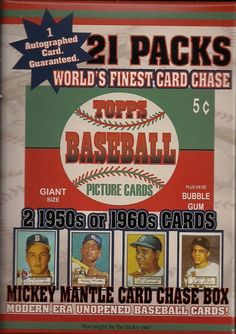 Sports Memorabilia: 1952 Unopened Topps Mantle Rookie Card Chase Box 21 Pks 2-50 60 Card W Autograph -> BUY IT NOW ONLY: $65.99 on eBay!