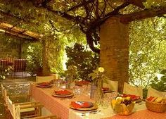 italian dining al fresco (you can barely see the picture but I like all of the vines and nature on the walls, columns, and ceiling!)