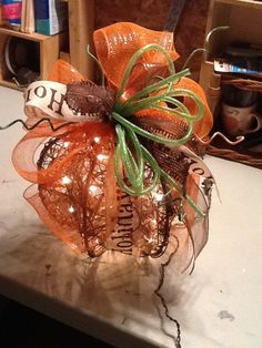 OOAK Fall Autumn Thanksgiving Decorated Grapevine Pumpkin with Lights - table centerpiece, home decor ~ Lillea Mae's on Etsy