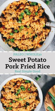 A delicious and healthy twist on pork fried rice, both Paleo and compliant! This sweet potato pork fried rice is a unique recipe with tons of flavor. Pork Recipes, Paleo Recipes, Whole Food Recipes, Free Recipes, Paleo Meals, Paleo Food, Vegetarian Food, Potato Recipes