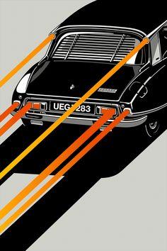 Déesse, an art print by Gianmarco Magnani Citroen Ds, Car Posters, My Dream Car, Automotive Design, Illustrations, Illustration Art, Graphic Design Inspiration, Cool Cars, Classic Cars