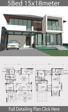 Home design plan with 5 bedroom. Big house Modern Contemporary style Inspired Favorite model Modern architecture, open view with glass Modern House Floor Plans, 3d House Plans, House Plans Mansion, Model House Plan, Home Design Floor Plans, House Layout Plans, Bungalow House Plans, Family House Plans, House Blueprints