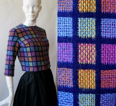 1960's cropped jacket in blue and bright by afterglowvintage, $58.00