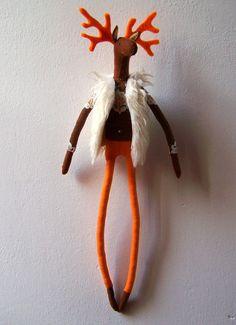 Elia felt reindeer with faux fur by lizarendina on Etsy