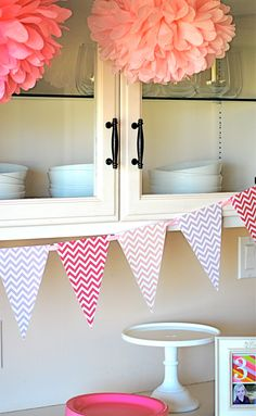 Pink Chevron Pennant Banner Printable by iheartcupcakestoo