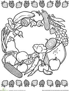 coloring mandalas fruit | Color a Mandala: Fruits and Veggies | Worksheet | Education.com