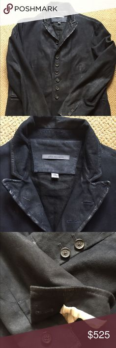 John Varvatos Collection Suede Jacket - 56EU/46US John Varvatos Collection size 56 / 46 US slim cut black goat suede jacket. Convertible lapel jacket with slanted button holes. Single center vent, round hem cutaway, double welt pockets & inside chest pockets. Two working button holes on each sleeve. This jacket/Blazer is the epitome of the Varvatos rock and roll lifestyle and you will feel like you own the room wearing it. Gently worn and in great condition. John Varvatos Jackets & Coats
