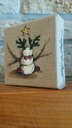Country Snow Reindeer painting on Burlap by AngelsFlightStudio