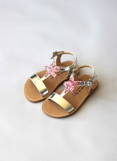 Manuela de Juan Eolios Star Sandals in Silver/Pink Star -E1LUMC - FINAL SALE