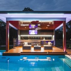 Midcentury Modern pool designs: The ultimate pool cabana in an updated Midcentury Modern design extends the hours of swimming pool enjoyment in this outdoor living space. Outdoor Areas, Outdoor Rooms, Outdoor Living, Pool Bar, Bar Piscina, Modern Outdoor Kitchen, Modern Patio, Outdoor Kitchens, Midcentury Modern