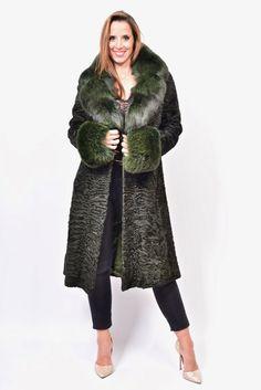 Green Colored Swakara Broadtail Fur Coat Persian Lamb Blue Fox No Mink | eBay