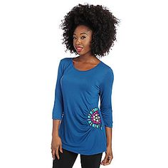 Glitterscape® Stretch Knit 3/4 Sleeve Medallion Detailed Gathered Side Top